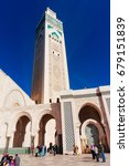 Small photo of Casablanca, Morocco- February 9, 2015: Pose of many people admiring and visiting Hassan II Mosque in Casablanca , Morocco