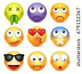 smiley emoticon set. yellow... | Shutterstock .eps vector #679152367
