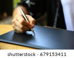 business woman drawn or writing ... | Shutterstock . vector #679153411