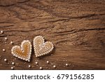 gingerbread heart cookies on a... | Shutterstock . vector #679156285