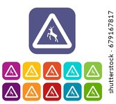 deer traffic warning sign icons ... | Shutterstock .eps vector #679167817