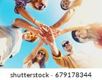 happy smiling friends at the... | Shutterstock . vector #679178344
