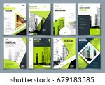 set of green cover template for ... | Shutterstock .eps vector #679183585