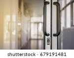 blank glass door with metal... | Shutterstock . vector #679191481