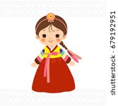 cute little girl in korean... | Shutterstock .eps vector #679192951