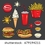 set of fast food. realistic hot ... | Shutterstock .eps vector #679194211