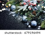 christmas card with fir and... | Shutterstock . vector #679196494