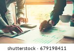 business time in morning with... | Shutterstock . vector #679198411