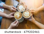 latte coffee art and people... | Shutterstock . vector #679202461