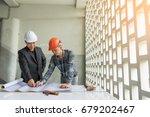 engineers are wearing security...   Shutterstock . vector #679202467