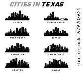 texas cities silhouette   city... | Shutterstock .eps vector #679203625