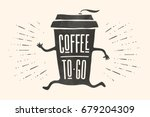 poster take out coffee cup with ... | Shutterstock .eps vector #679204309