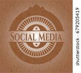 social media wood emblem | Shutterstock .eps vector #679205419