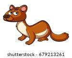 brown otter on white background ... | Shutterstock .eps vector #679213261
