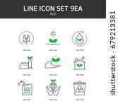 eco line icon | Shutterstock .eps vector #679213381