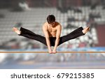 gymnast competing on high... | Shutterstock . vector #679215385