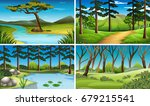 four scenes of forest and river ... | Shutterstock .eps vector #679215541