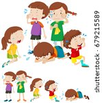 many sad children crying... | Shutterstock .eps vector #679215589