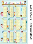 addition tables with happy kids ... | Shutterstock .eps vector #679215595
