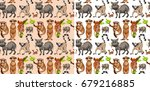 seamless background with wild... | Shutterstock .eps vector #679216885
