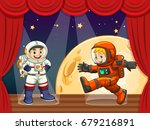 two astronauts walking on stage ... | Shutterstock .eps vector #679216891