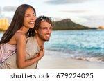 honeymoon hawaii beach vacation ... | Shutterstock . vector #679224025