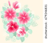 gorgeous bouquet in tropical... | Shutterstock .eps vector #679246831