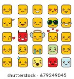 vector set of cute square... | Shutterstock .eps vector #679249045