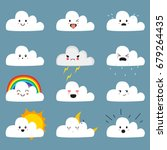 Stock vector cute cloud emojis vector collection with different expressions 679264435
