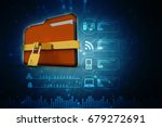 yellow folder and lock. data... | Shutterstock . vector #679272691