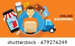 online shopping with delivery... | Shutterstock .eps vector #679276249