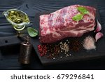 black wooden cutting board with ... | Shutterstock . vector #679296841