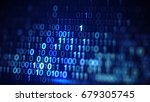 digital blue binary data code.... | Shutterstock . vector #679305745