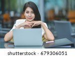 pretty young business woman... | Shutterstock . vector #679306051