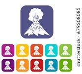 volcano erupting icons set... | Shutterstock .eps vector #679308085