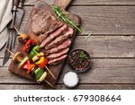 grilled vegetables and beef... | Shutterstock . vector #679308664