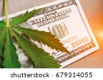 money with a leaf of hashish... | Shutterstock . vector #679314055