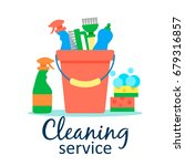 cleaning service flat... | Shutterstock .eps vector #679316857