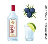 set of dry gin bottle  tonic... | Shutterstock .eps vector #679322104