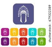 indian headdress icons set... | Shutterstock .eps vector #679322389