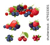 set of colorful cartoon berries ...