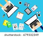 hand working at computer on... | Shutterstock .eps vector #679332349