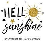 hello sunshine glitter slogan... | Shutterstock .eps vector #679339501