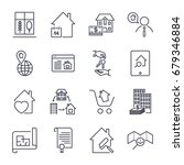 real estate line icons. icon... | Shutterstock .eps vector #679346884