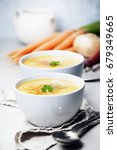 vegetable cream soup in bowl... | Shutterstock . vector #679349665