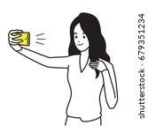 selfie girl. vector... | Shutterstock .eps vector #679351234