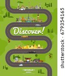 discover the world poster with... | Shutterstock .eps vector #679354165