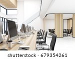 wooden open space office... | Shutterstock . vector #679354261