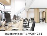 wooden open space office... | Shutterstock . vector #679354261