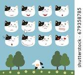 emoticons set face of kitten... | Shutterstock .eps vector #679358785